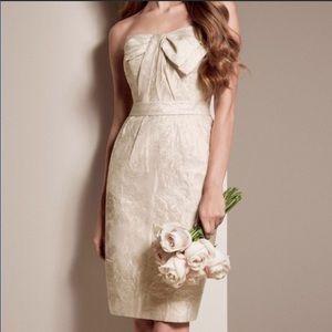 Vera Wang | Floral Short Dress Bow Metallic Thread